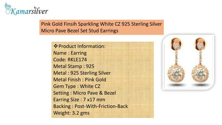 Pink Gold Finsih Sparkling White CZ 925 Sterling Silver Micro Pave Bezel Set Stud Earrings
