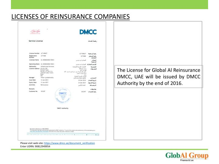 LICENSES OF REINSURANCE COMPANIES