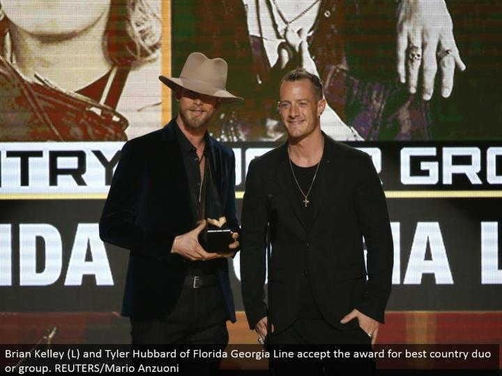 Brian Kelley (L) and Tyler Hubbard of Florida Georgia Line perceive the regard for best nation gathering or collecting. REUTERS/Mario Anzuoni