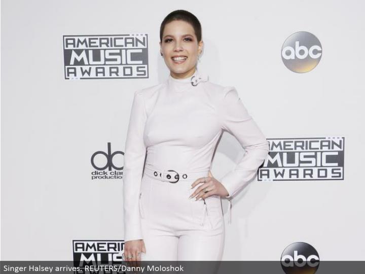 Singer Halsey arrives. REUTERS/Danny Moloshok