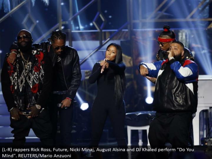 "(L-R) rappers Rick Ross, Future, Nicki Minaj, August Alsina and DJ Khaled perform ""Do You MInd"". REUTERS/Mario Anzuoni"