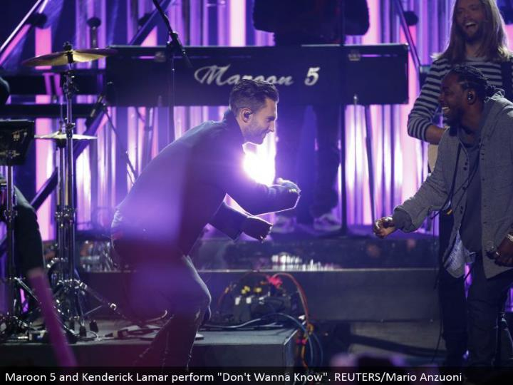 "Maroon 5 and Kenderick Lamar perform ""Don't Wanna Know"". REUTERS/Mario Anzuoni"