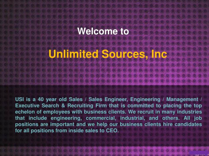 Unlimited sources inc