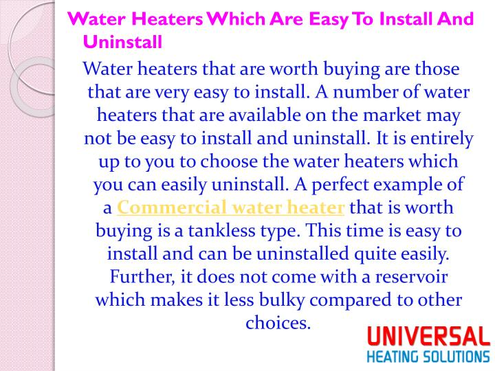 Water Heaters Which Are Easy To Install And Uninstall