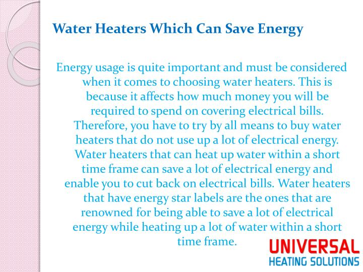 Water Heaters Which Can Save Energy