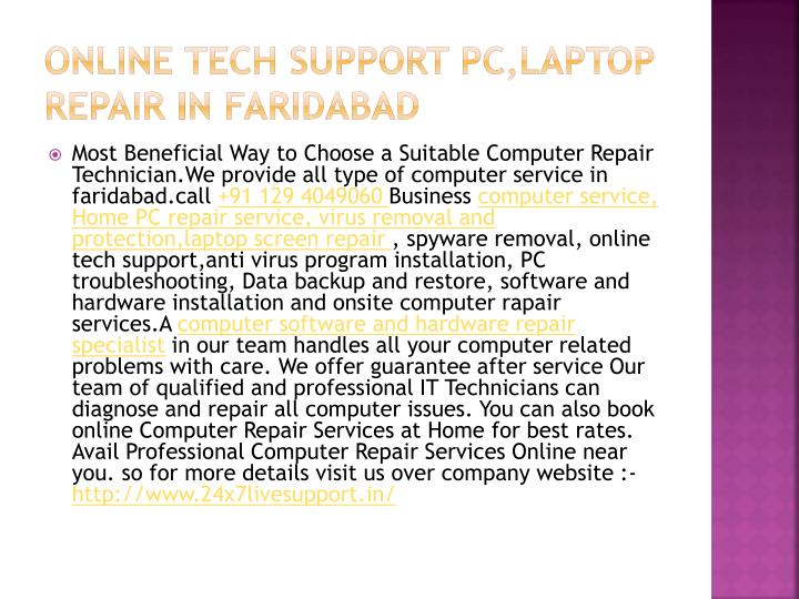 O nline t ech s upport pc laptop repair i n f aridabad