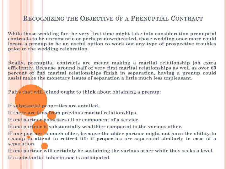 Recognizing the objective of a prenuptial contract