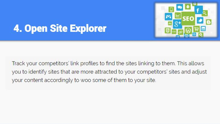 4. Open Site Explorer