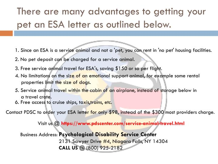 There are many advantages to getting your pet an ESA letter as outlined below.