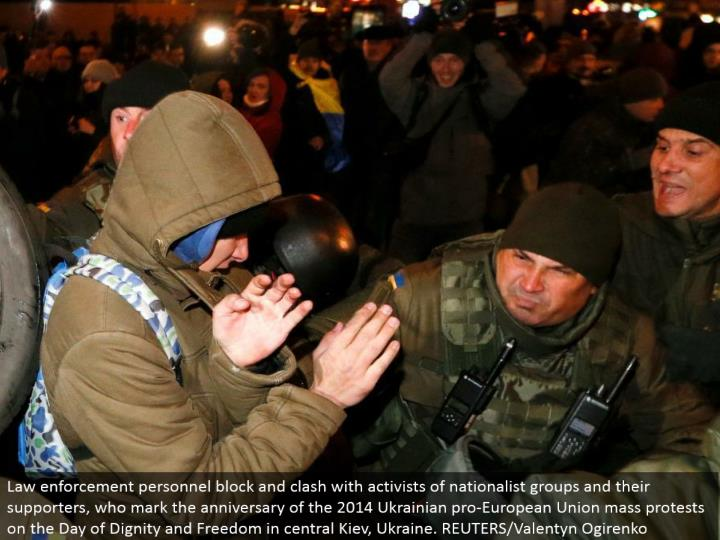 Law requirement work force square and conflict with activists of patriot gatherings and their supporters, who stamp the commemoration of the 2014 Ukrainian master European Union mass challenges on the Day of Dignity and Freedom in focal Kiev, Ukraine. REUTERS/Valentyn Ogirenko