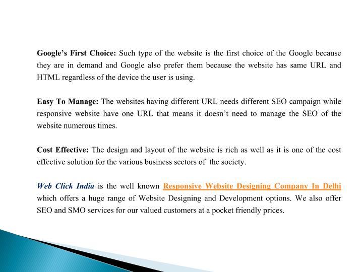 Google's First Choice: