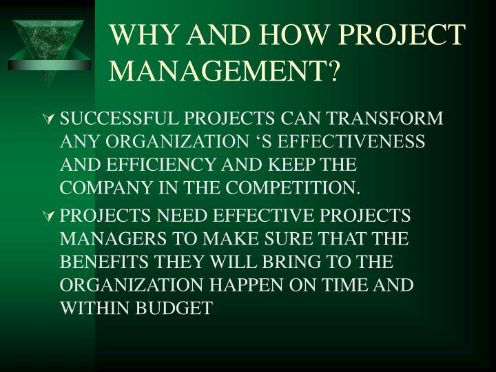 WHY AND HOW PROJECT MANAGEMENT?