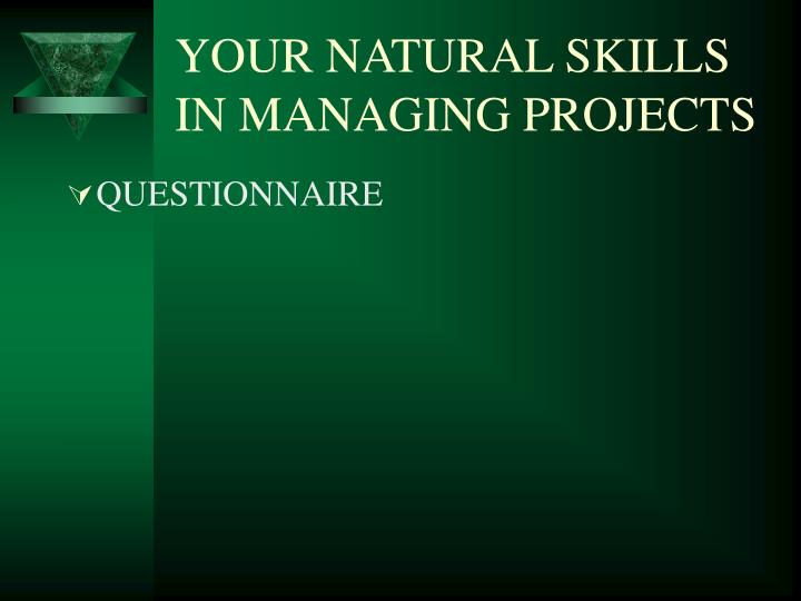 Your natural skills in managing projects