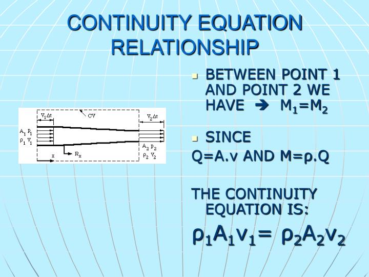 CONTINUITY EQUATION RELATIONSHIP