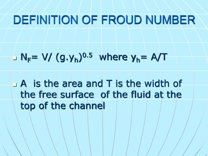 DEFINITION OF FROUD NUMBER