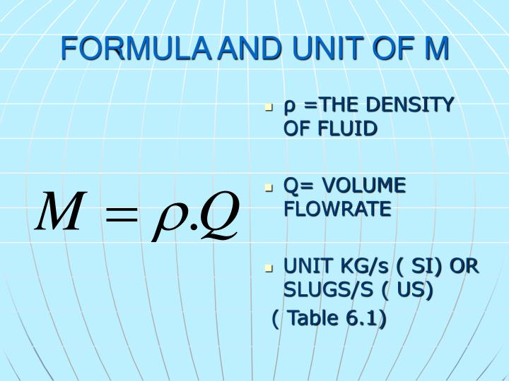 FORMULA AND UNIT OF M