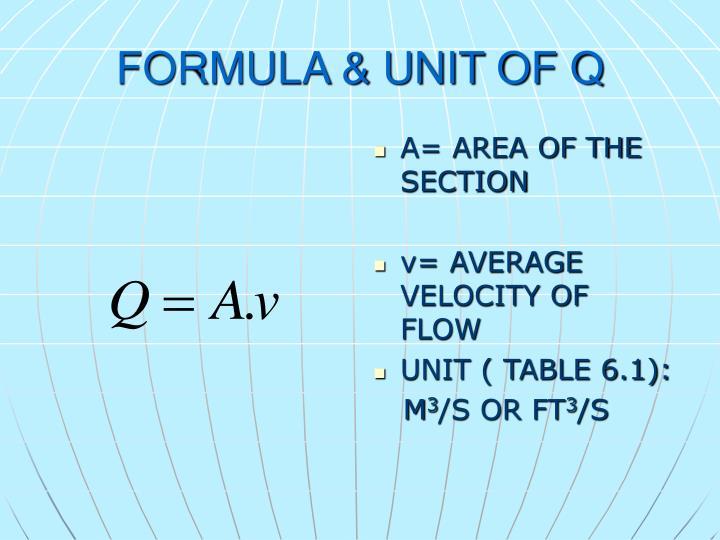FORMULA & UNIT OF Q