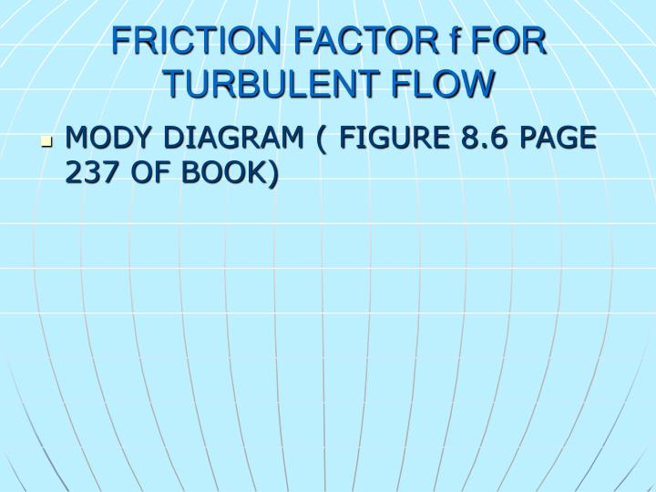 FRICTION FACTOR f FOR TURBULENT FLOW