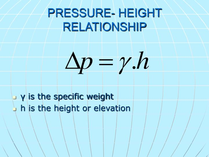 PRESSURE- HEIGHT RELATIONSHIP