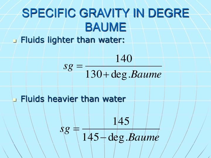 SPECIFIC GRAVITY IN DEGRE BAUME