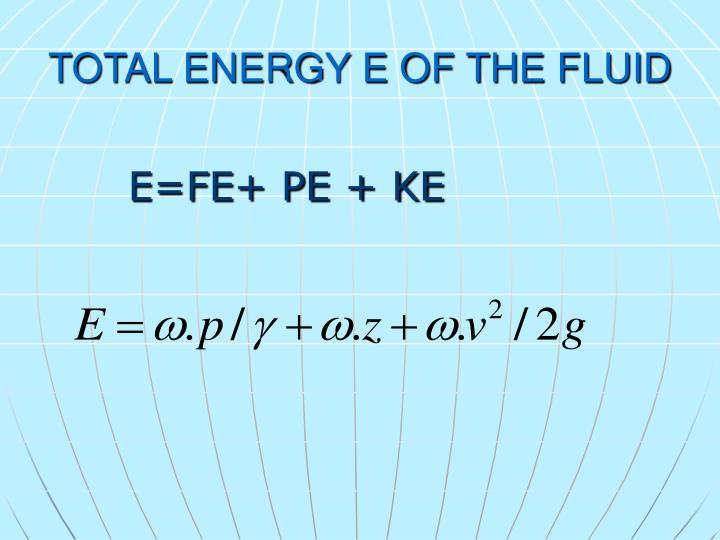 TOTAL ENERGY E OF THE FLUID