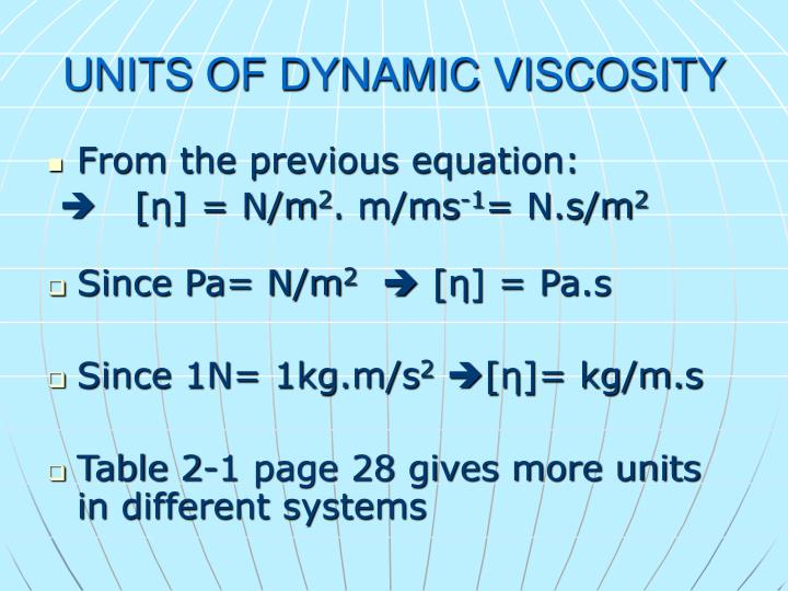UNITS OF DYNAMIC VISCOSITY