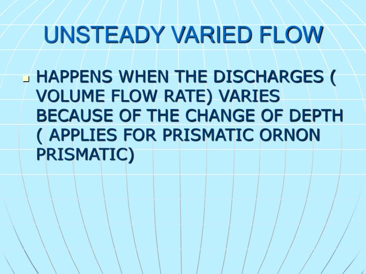 UNSTEADY VARIED FLOW