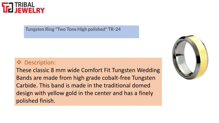 """Tungsten Ring """"Two Tone High polished"""" TR-24"""
