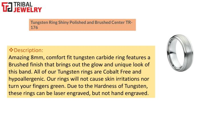 Tungsten Ring Shiny Polished and Brushed Center TR-176