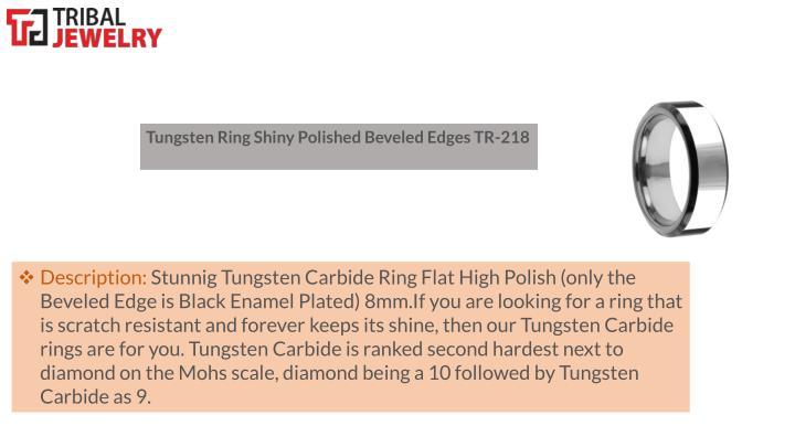 Tungsten Ring Shiny Polished Beveled Edges TR-218