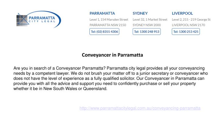 Conveyancer in Parramatta