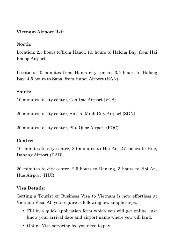 Vietnam Airport list: