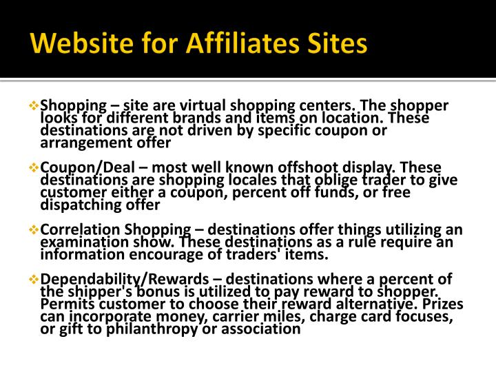 Website for Affiliates