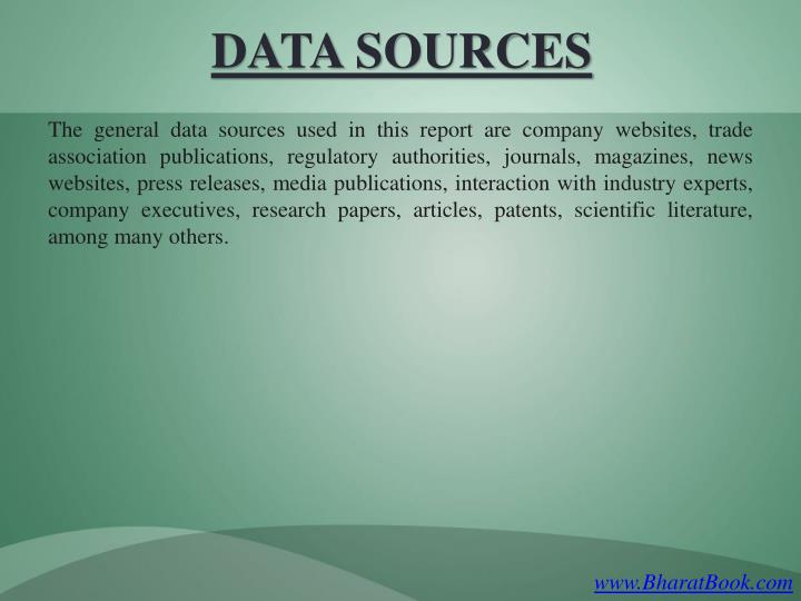 The general data sources used in this report are company websites, trade association publications, regulatory authorities, journals, magazines, news websites, press releases, media publications, interaction with industry experts, company executives, research papers, articles, patents, scientific literature, among many others.