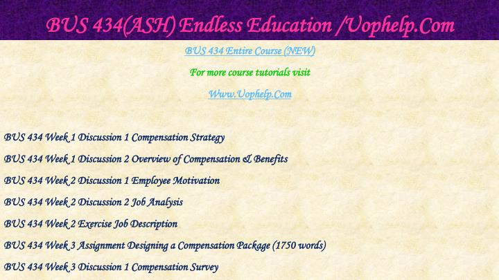 Bus 434 ash endless education uophelp com1