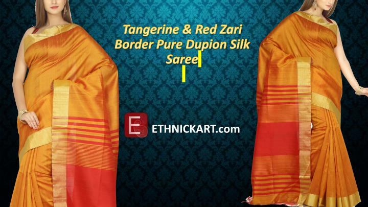 Tangerine & Red Zari Border Pure Dupion Silk Saree