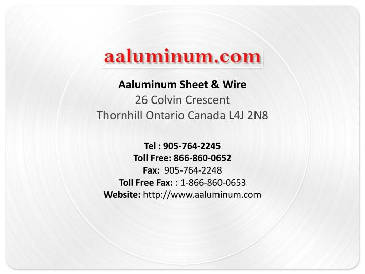 Aaluminum Sheet & Wire