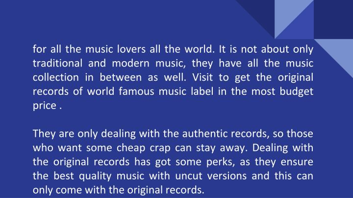 For all the music lovers all the world. It is not about only traditional and modern music, they have...