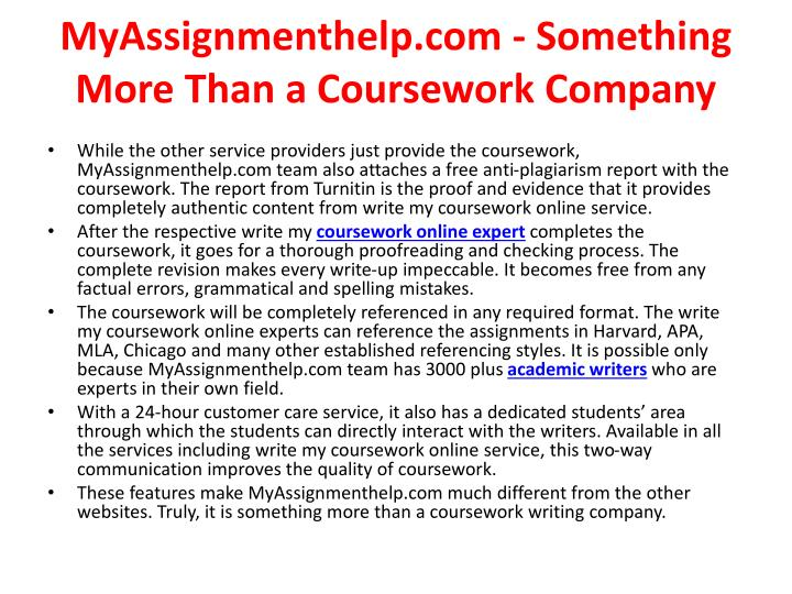 Myassignmenthelp com something more than a coursework company