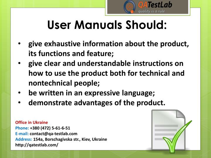 User Manuals Should: