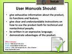 user manuals should