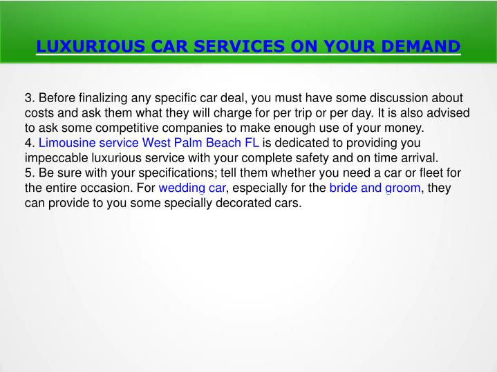 LUXURIOUS CAR SERVICES ON YOUR DEMAND