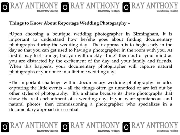 Things to Know About Reportage Wedding Photography