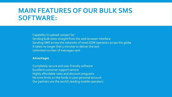 Main features of our bulk SMS