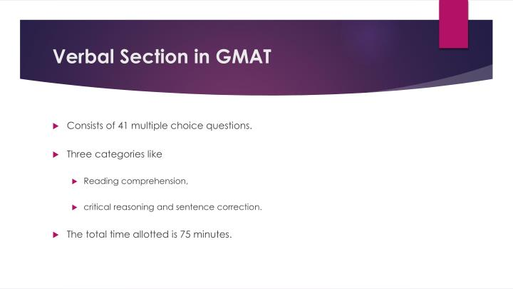 Verbal Section in GMAT