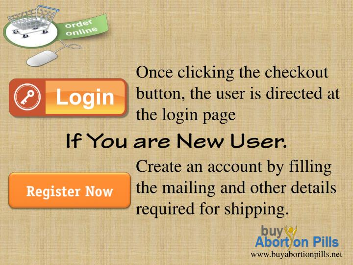 Once clicking the checkout button, the user is directed at the login page