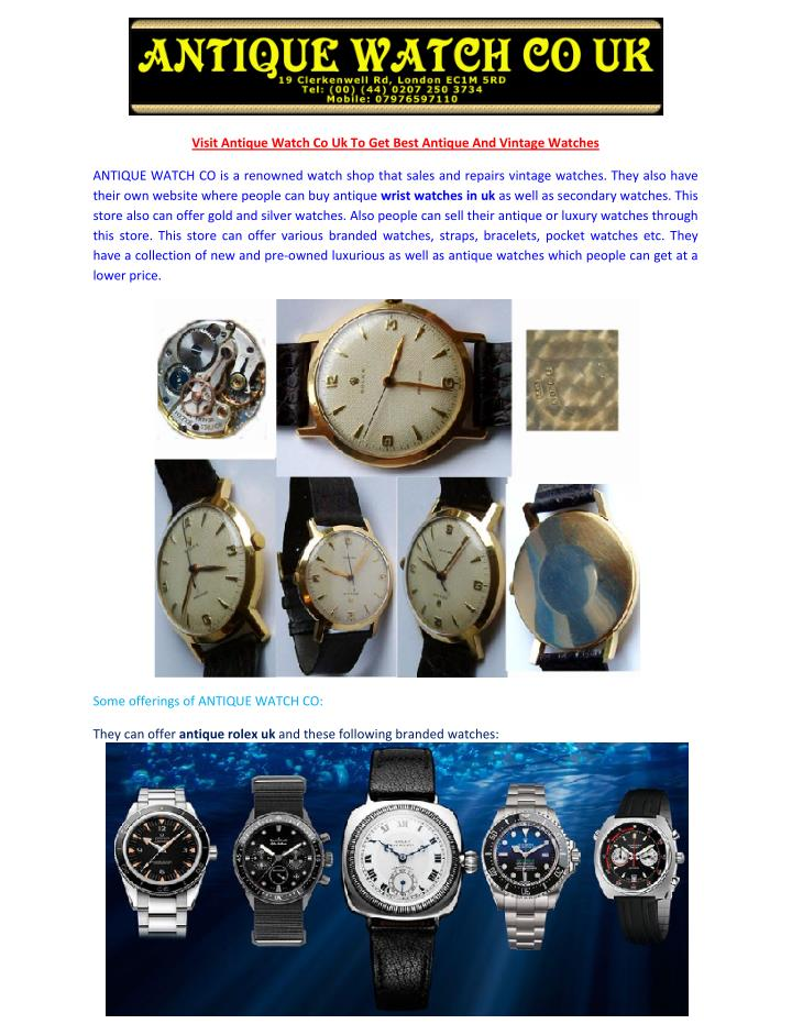 Visit Antique Watch Co Uk To Get Best Antique And Vintage Watches