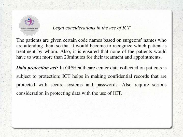 Legal considerations in the use of ICT