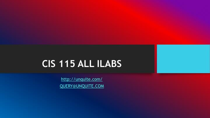 Cis 115 all ilabs