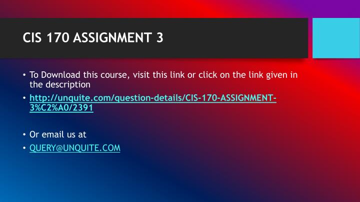 Cis 170 assignment 31